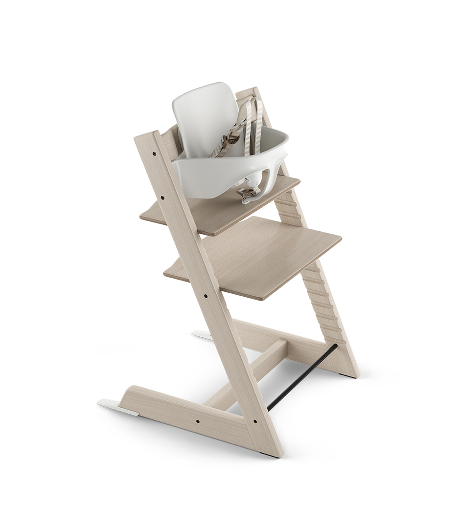 Tripp Trapp® Chair Whitewash with Baby Set. US version.