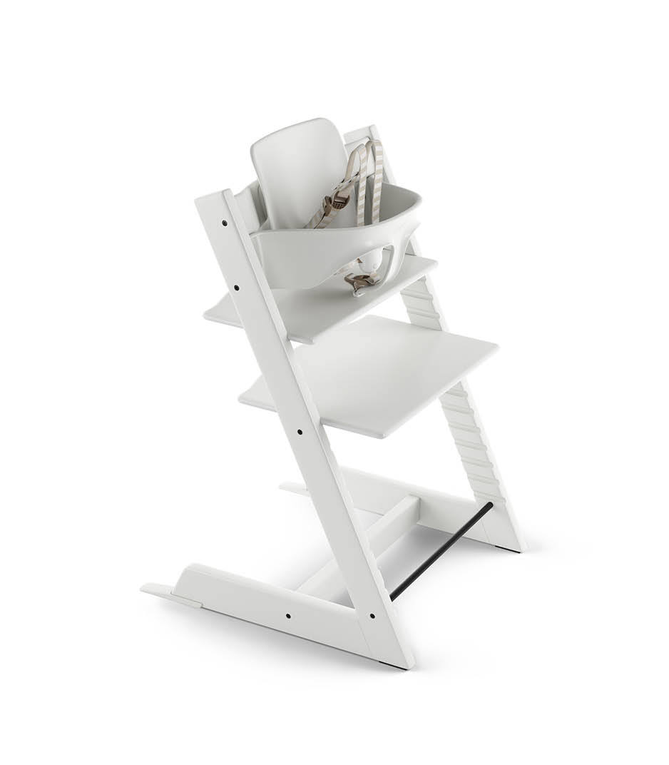 Tripp Trapp® White with Tripp Trapp® Baby Set, Plum Purple. US version. 3D rendering.
