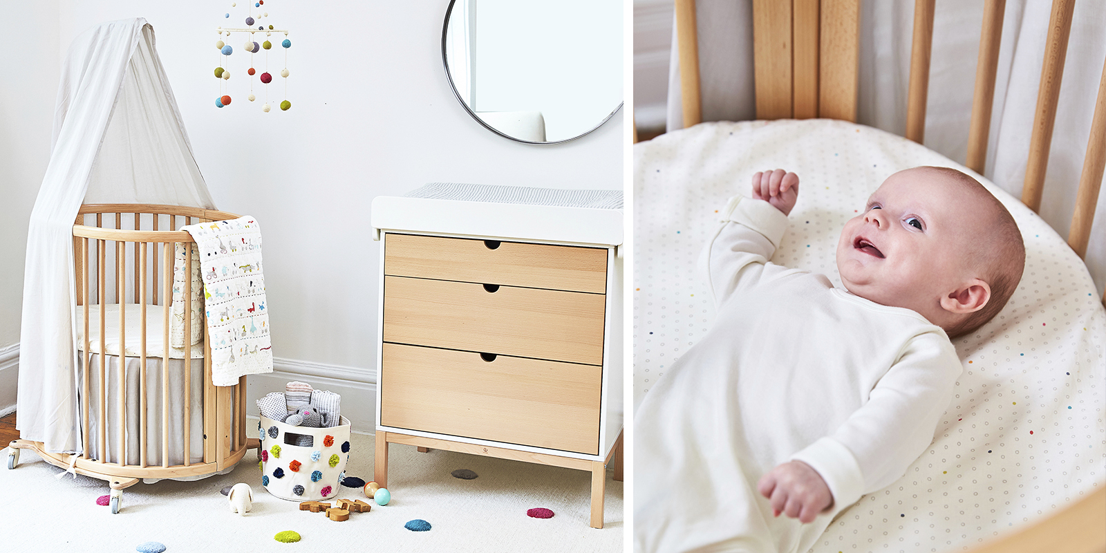 Stokke® Sleepi™ Mini Fitted Sheet Pehr Rainbow Dot, , emotional1