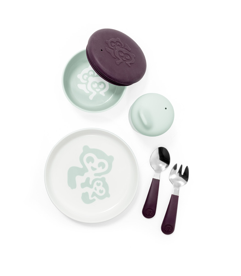 Stokke™ Munch Everyday. Tableware collection. Includes: Plate with cutlery, bowl with lid and cup with lid.
