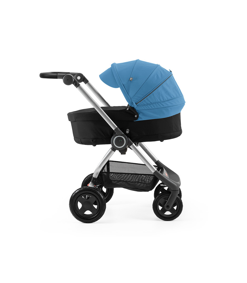 Stokke® Scoot™ with Carry Cot Black and Blue Canopy.