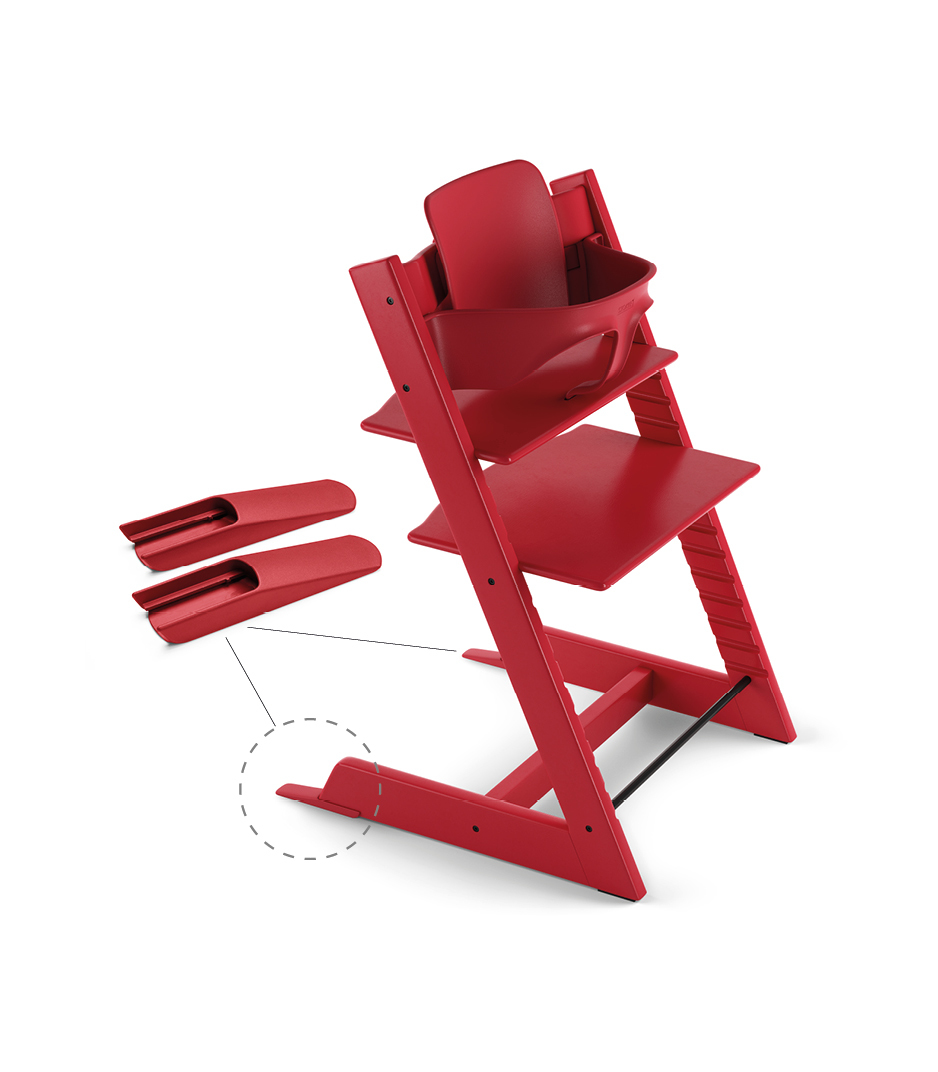 Tripp Trapp® Chair Red, Beech, with Baby Set.