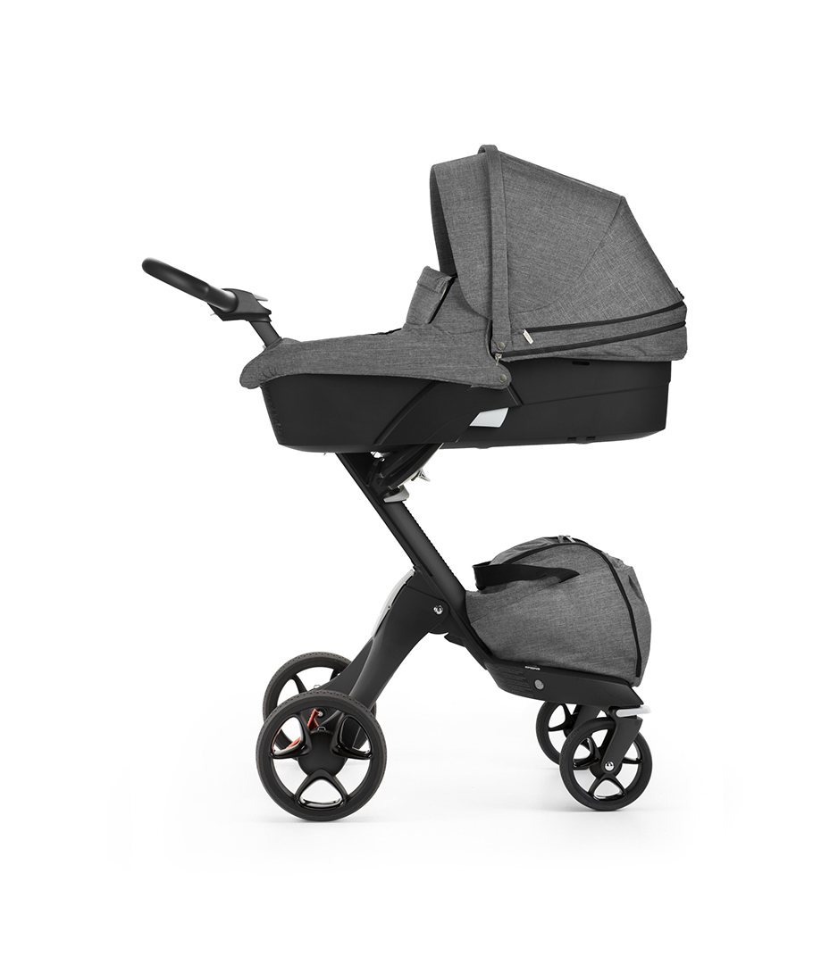 Stokke® Xplory® with Black chassis and Carry Cot, Black Melange. New wheels 2016.