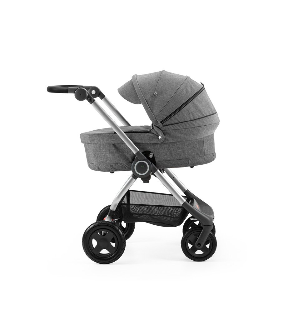 Stokke® Scoot™ with Carry Cot Black Melange and Black Melange Canopy.
