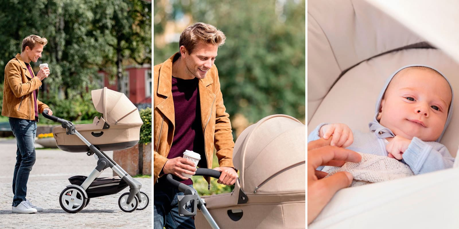 Stokke® Trailz™ with Stokke Stroller Carry Cot, Beige Melange.