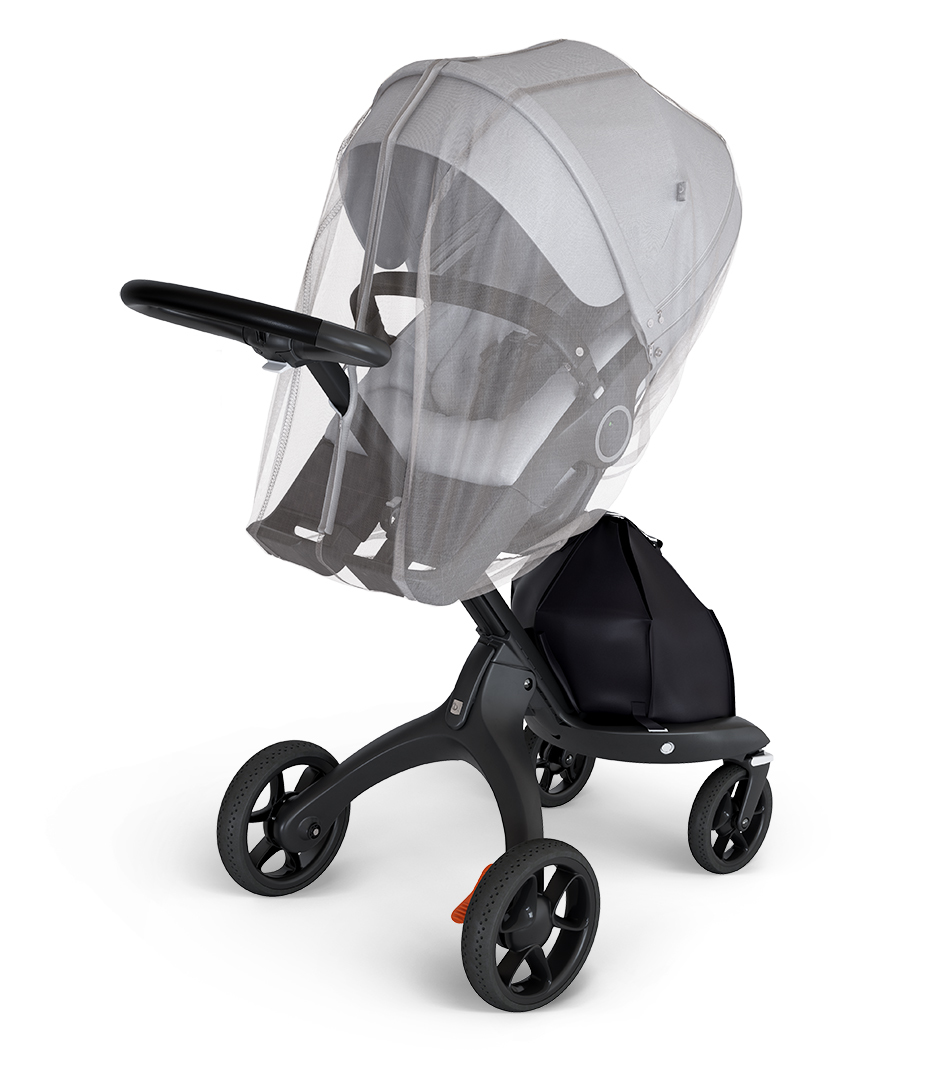 Stokke® Xplory® Black Chassis with Stokke® Stroller Seat Brushed Grey and Stokke® Stroller Mosquito net.
