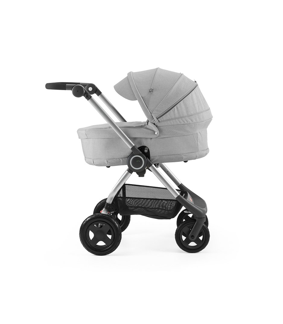 Stokke® Scoot™ with Carry Cot Grey Melange and Grey Melange Canopy.