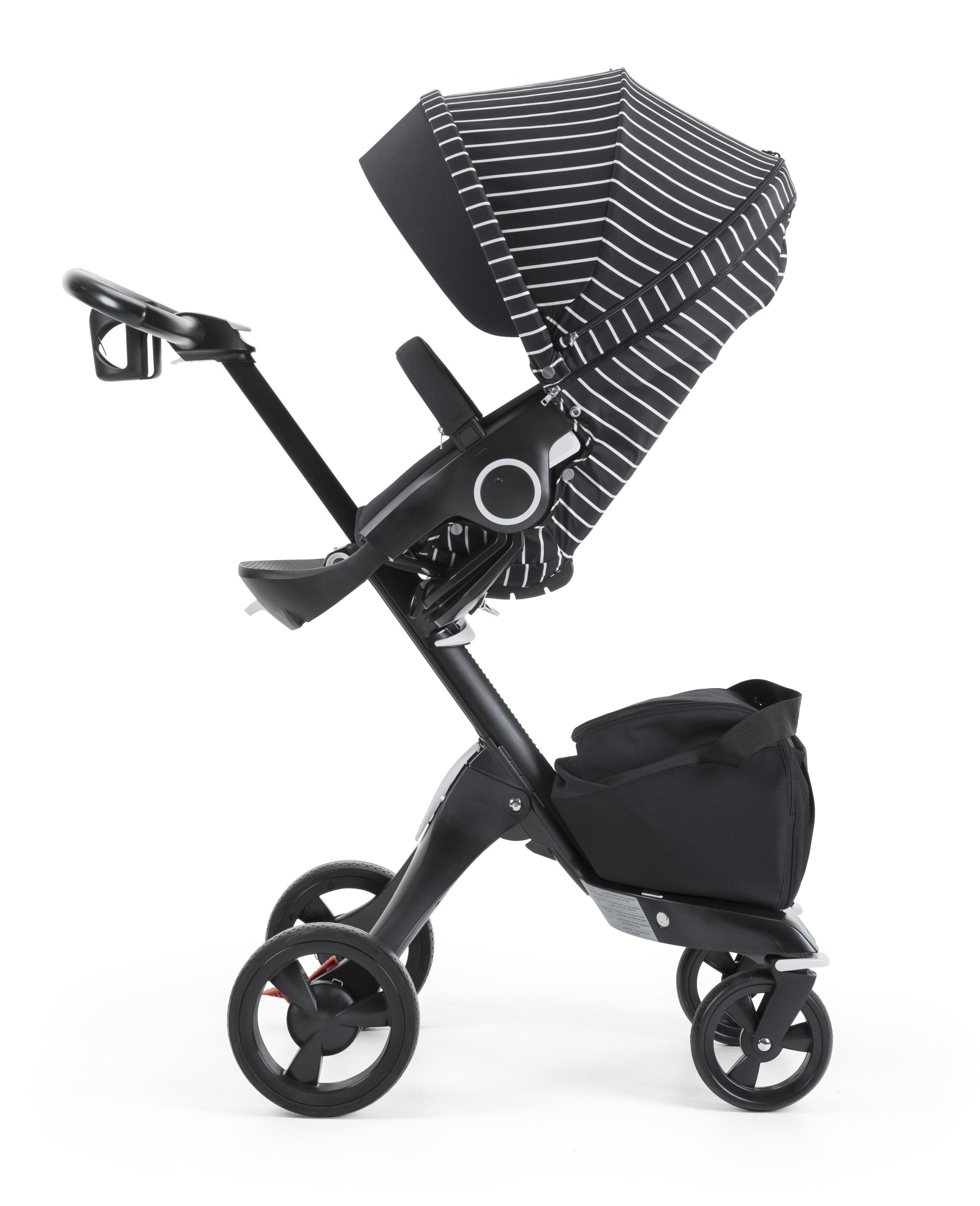 Stokke® Xplory® with Stokke® Stroller Seat and White Stripe Style Kit.
