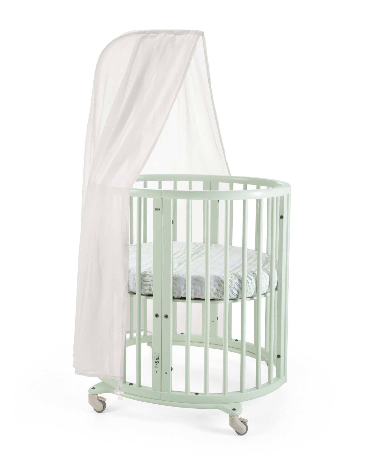 Stokke® Sleepi Mini, Mint. Canopy, Bumper and Fitted Sheet, Aqua Straw.