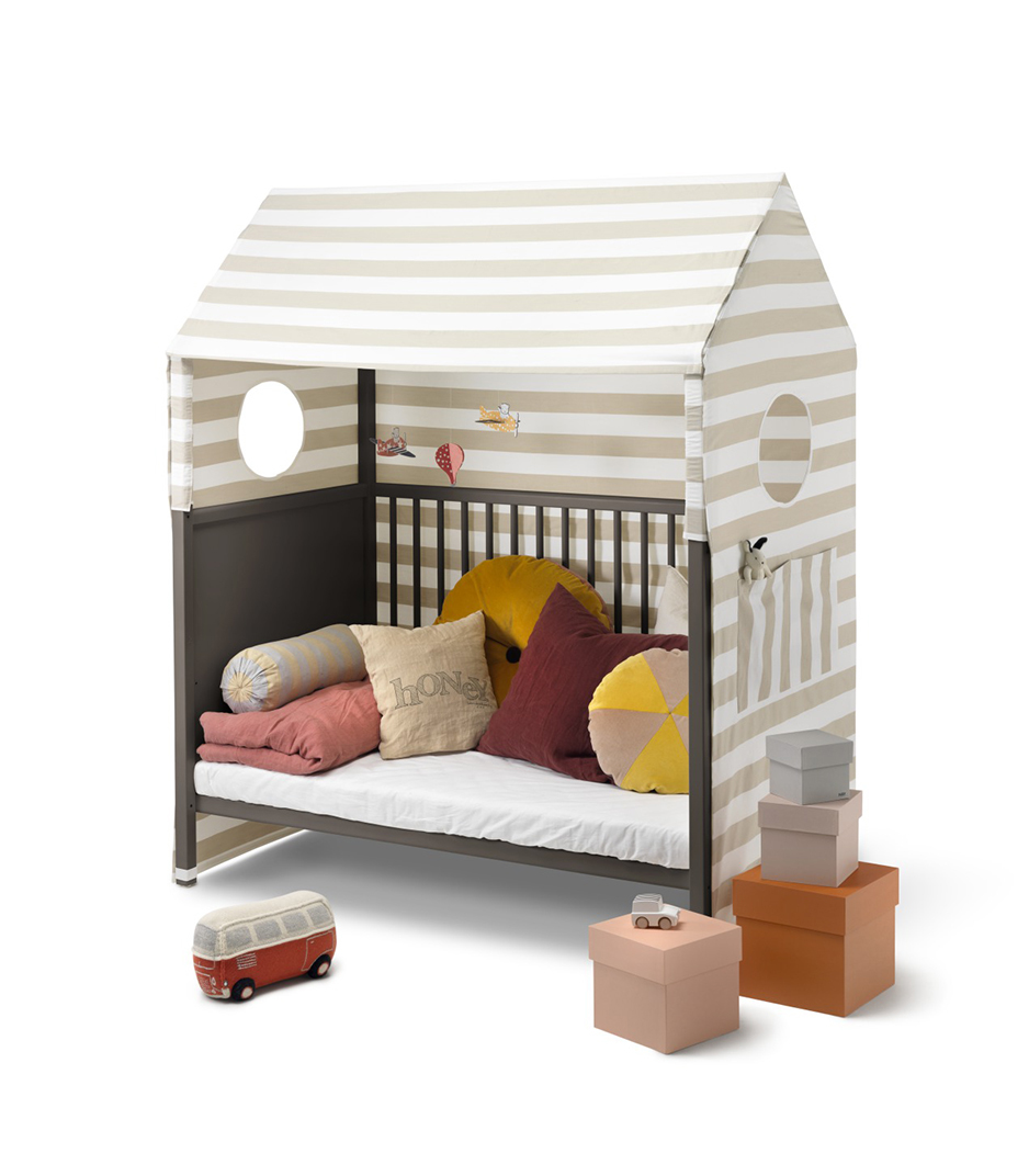 Stokke® Home™ Bed, Hazy Grey. With Stokke® Home™ Bed Tent textile.