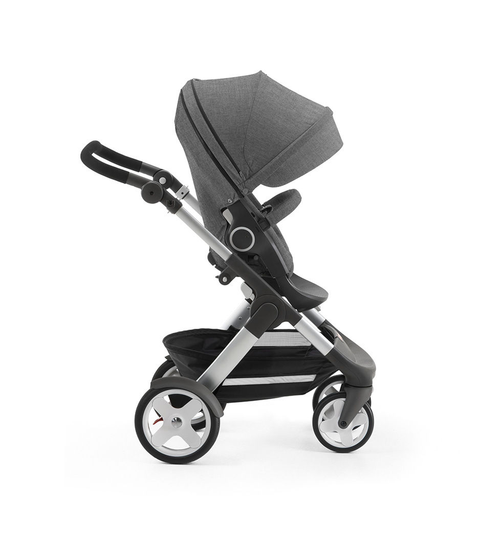 Stokke® Trailz with Stokke® Stroller Seat, forward facing, active position. Black Melange.