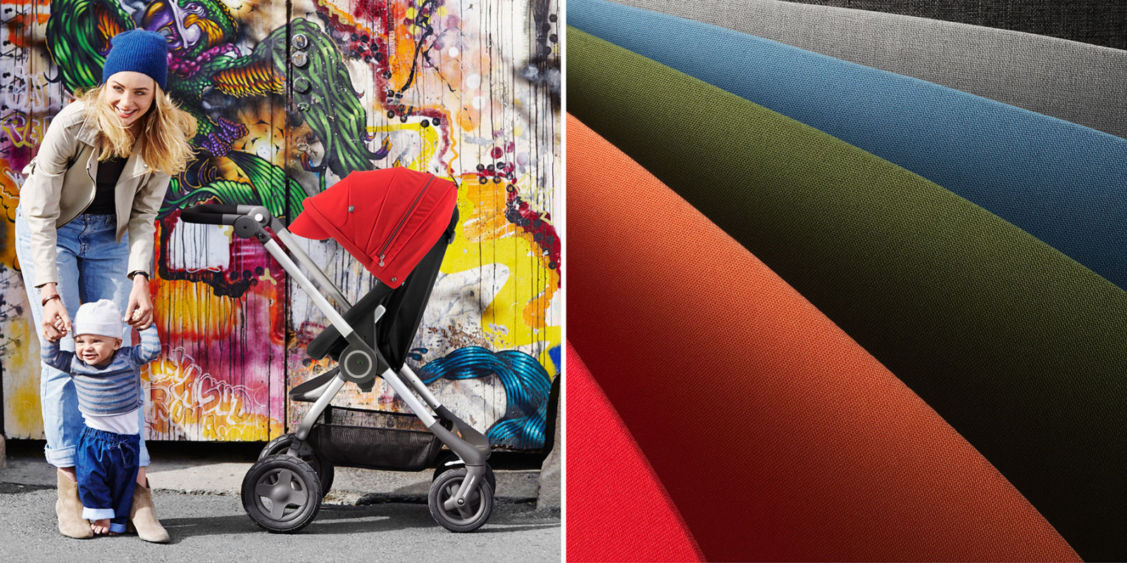 Stokke® Scoot™. In Setting image with Black Seat and Red Canopy. Detailed image of Canopy colour range. Mainview.