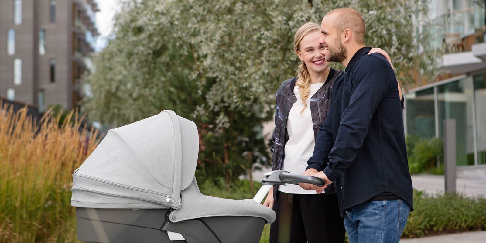 Stokke® Xplory® With Stokke® Stroller Carry Cot, Grey Melange.