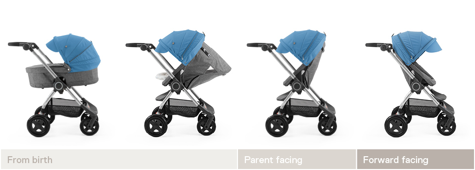 Stokke® Scoot™ grow line 2017. Black Melange with Blue Canopy.
