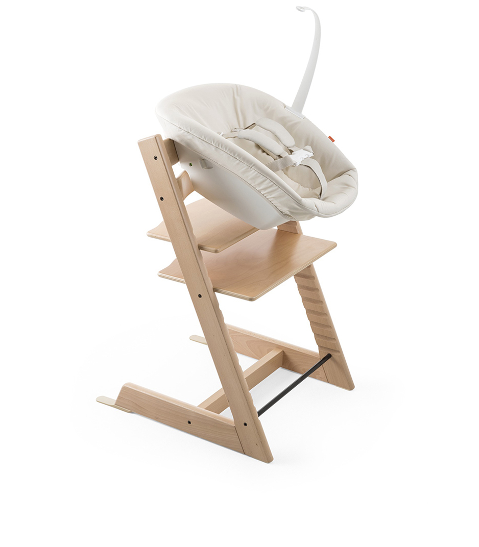 Tripp Trapp® Natural with Tripp Trapp® Newborn Set.
