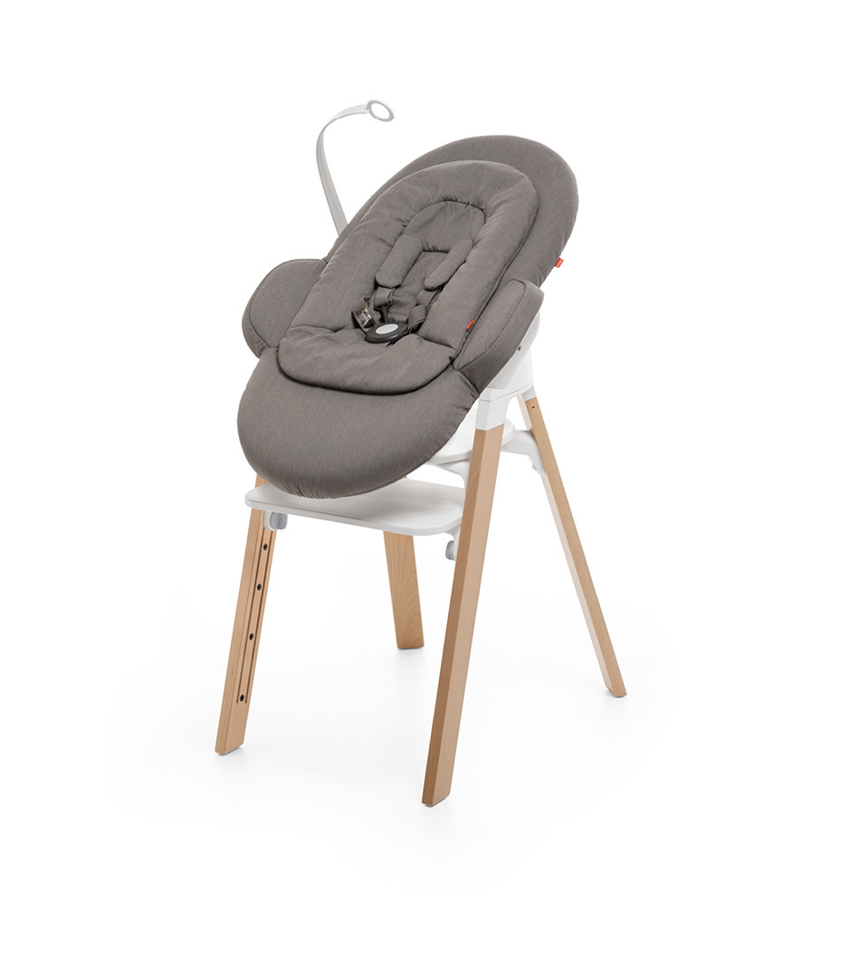 "Stokke® Steps"" Chair, Beech Natural, with Stokke® Steps™ Newborn Set, Greige."