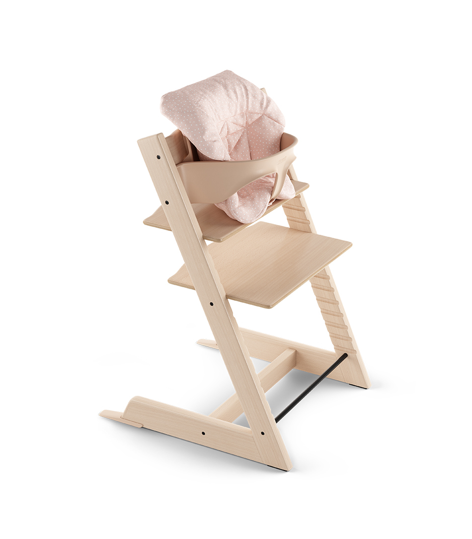 Tripp Trapp® Natural with Baby Set and Baby Cushion Pink Bee.