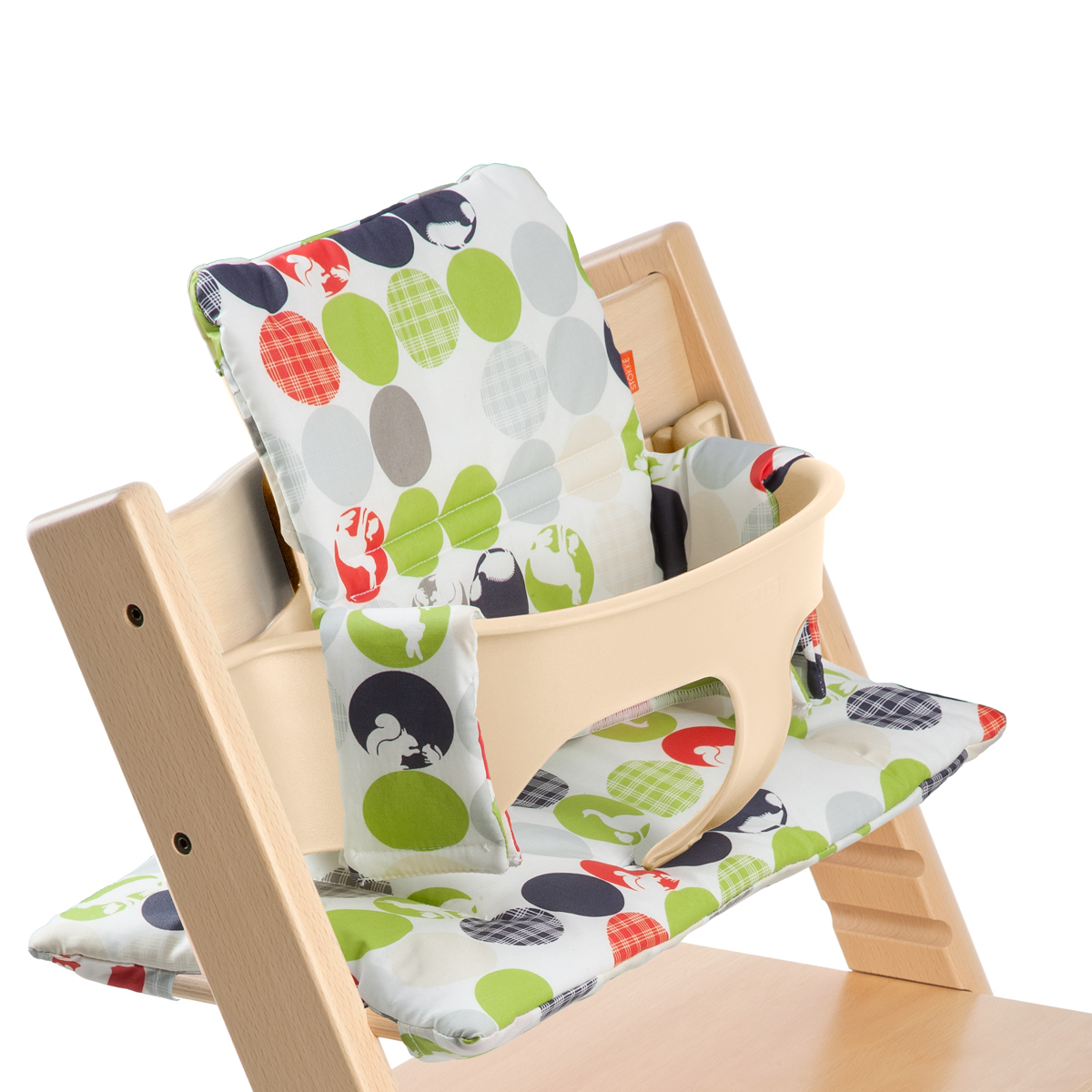 Tripp Trapp® Natural with Baby Set and Silhouette Green cushion