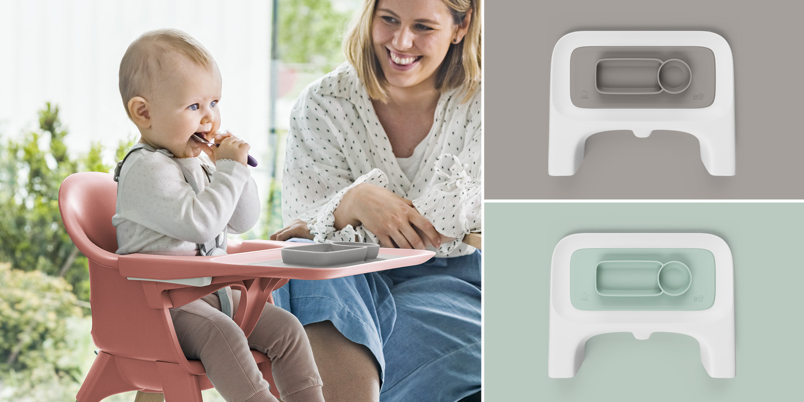 ezpz™ by Stokke®, Soft Grey and Soft Mint. Used with Stokke® Clikk™ Tray.