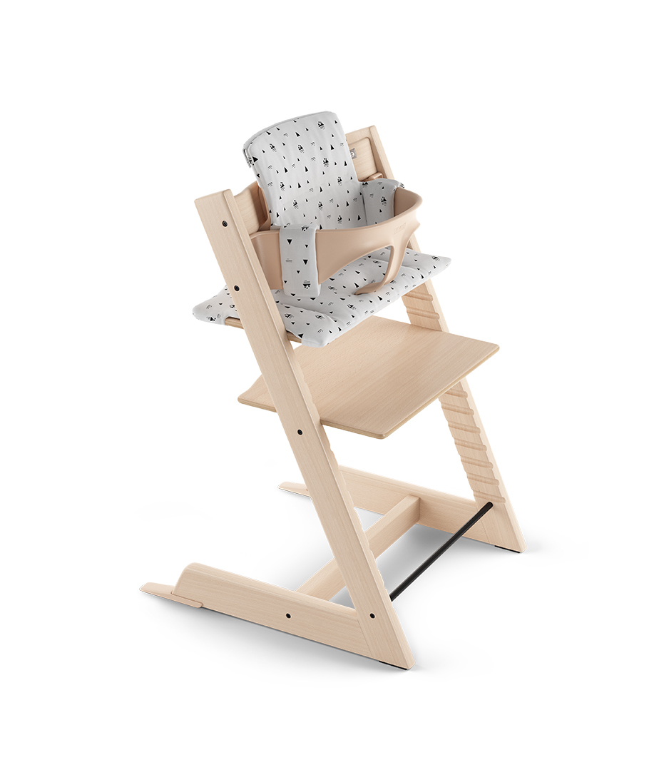 Tripp Trapp® Natural with Baby Set and Classic Cushion White Mountain.